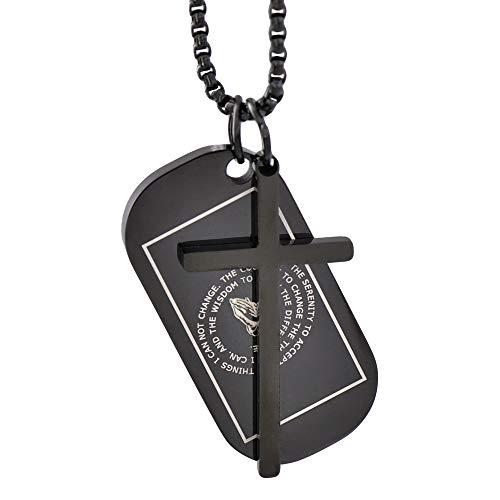 Corner Boss Faith Black Ceoss Retro Stainless Steel Pendant Chain Simple Rocker Necklace