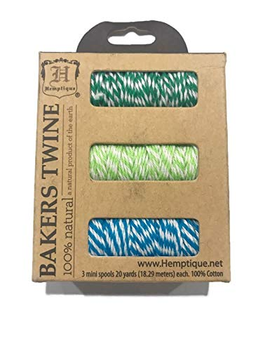 Cotton Bakers Twine 3 Mini Spool Set, Palm Tree ()