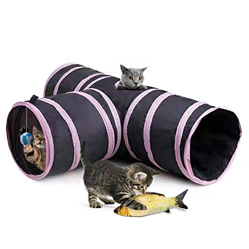 Blnboimrun Pet Cat Tunnel for Indoor,Collapsible 3 Way Tube Toys,Peek Hole Toy Ball,Also Included is an Interactive Catnip Fish,Fun for Rabbits,Kittens and Dogs (Pink + Black) (Peek Tube)
