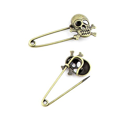 2pcs Jewelry Making Charms Jewellery Charme Antique Bronze Brass Tone Findings Lots Bulk Supply Supplies Repair Vintage Retro KI084 Pirate Skull Brooch Pin