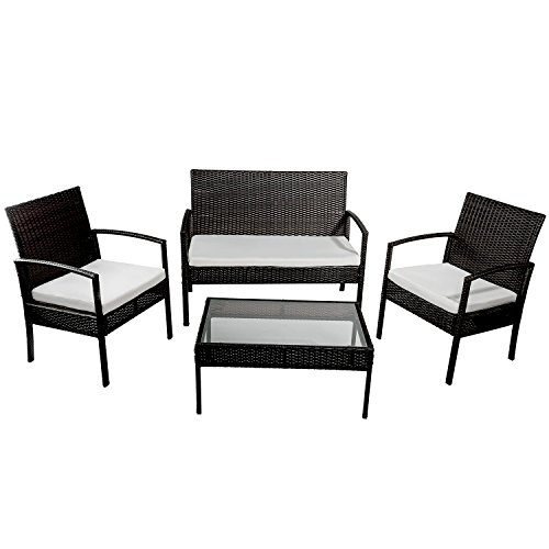 Merax 4 PC Outdoor Rattan Furniture Set Patio Wicker Cushioned Set Garden Sofa Set (Beige)
