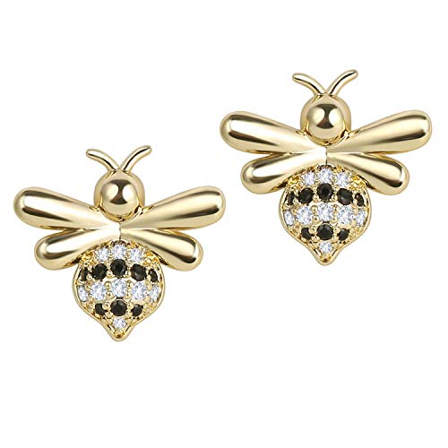 COZLANE 14K Gold Bee Earrings CZ Stud Honey Bee Pierced Earring for Girls Kids Child