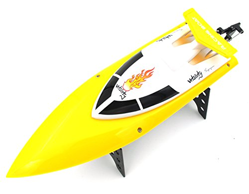 FT007 Remote Control 2.4GHz Wireless High Speed Racing Boat On Water Pool Lake River Auto-Flip Fast RC Ship, Yellow
