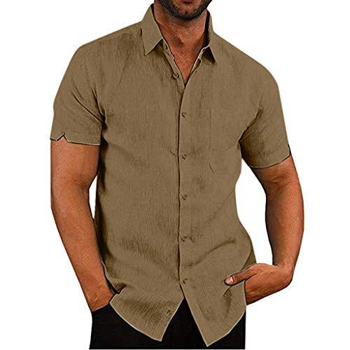 MIUCAT Mens Short Sleeve Shirts Button Down Linen Tops Lightweight Fishing Tees Spread Collar Plain Casual Shirt Khaki]()
