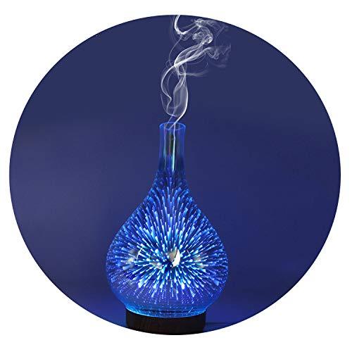 3D Fireworks LED Night Light Air Humidifier Glass Vase Shape Aroma Essential Oil Diffuser Mist Maker Ultrasonic Humidifier Gift,EU ()