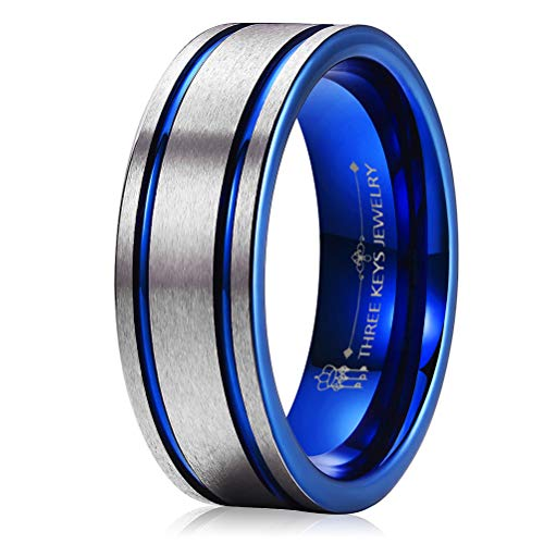 THREE KEYS JEWELRY 8mm Two Tone Mens Tungsten Wedding Ring for Men Blue Double Grooved Brushed Mens Wedding Band Engagement Ring Size 11