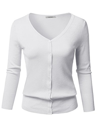 Solid Button Down V-Neck 3/4 Sleeves Knit Cardigan White M