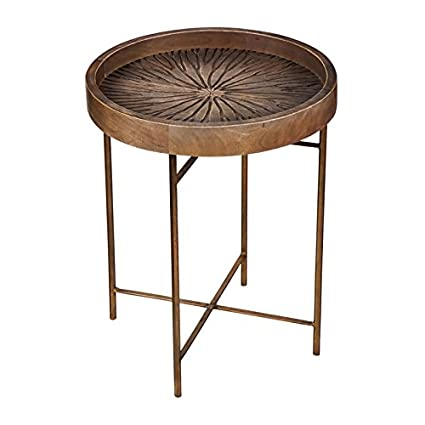 Cape Craftsman Carved Wood Round Tray Table With Metal Legs