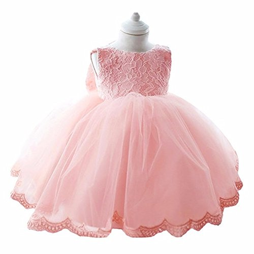 YiZYiF Kleinkinder Baby Mädchen Kleid Blumenspitze Prinzessin Kleid Hochzeit Partykleid Tüll Festzug Gr. 68 74 80 86 82 (86 (Herstellergröße: 75), Rosa)