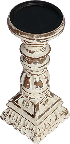SouvNear 10 Inch Tall Candle Holders Centerpiece – Pillar Candle Holder/Votive Holder – Wooden Decorative Shabby Chic Distressed Finished Candle Stand for Fireplace/Wedding/Table Top Accessories For Sale