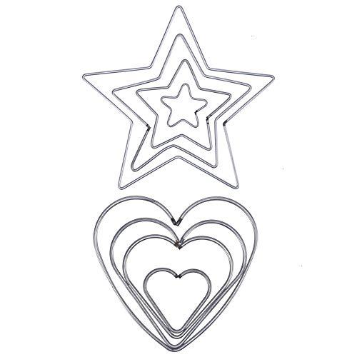 Feeko Dream Catcher Supplies, 8 Pieces Dream Catcher Ring Set Craft Metal Star Heart Ring Metal Hoop DIY Handicraft Set 50mm 80mm 100mm 120mm