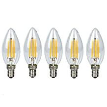 5 Pack E14 COB Led Lamp Bulbs Filament LED Candelabra Light Bulb 4 Watt Warm White 3000K 360LM LED Filament Bulbs Non Dimmable 110V 360 Degree Candle Led Bulb