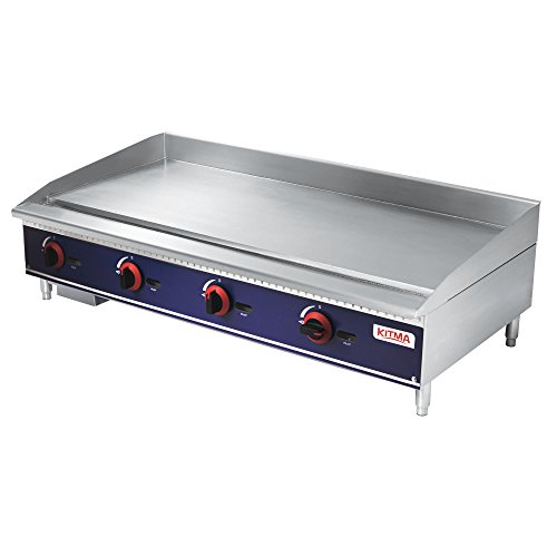 Commercial Countertop Manual Griddle - KITMA 48 Inch Liquid Propane Flat Top Griddle - Restaurant Equipment for Barbecue, 120,000 BTU