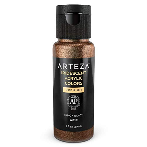 Arteza Iridescent Acrylic Paint WG10 Fancy Black, 60 ml Bottle, Chameleon Colors, High Viscosity Shimmer Paint, Water-Based, Blendable, for Canvas, Wood, Rocks, Fabrics