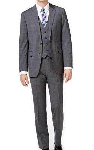 Calvin Klein 3 Pcs Jacket, Vest and Pants Men's Modern Fit Gray and Blue Plaid Windowpane Vested Suit 100% Wool (40 Regular USA Jacket/33 Waist Pants) by Calvin Klein
