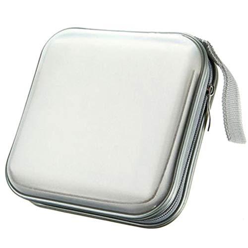 Fatcolo 40 Disc DVD VCD DJ Storage Album Bag Hard Box Double side DVD storage case (White)
