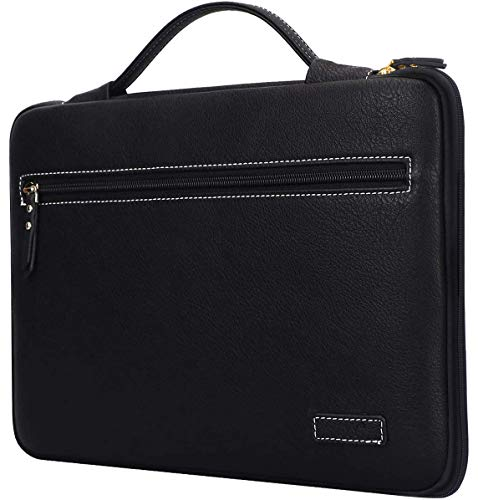 """FYY Laptop Bag for 12""""-13.5"""" [Waterproof Leather] Sleeve Case for Surface Book MacBook Pro/Air 13"""", Briefcase Bag fits 12""""-13.5"""" Lenovo Dell Toshiba HP ASUS Acer Chromebook Notebook Ultrabook-Black"""