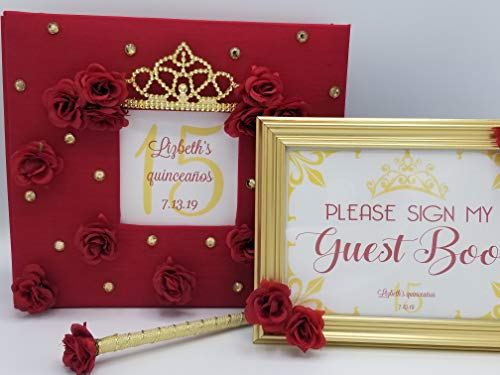 Custom Princess Crown & Roses Guest Book, Pen and Sign Set - Choice of Colors