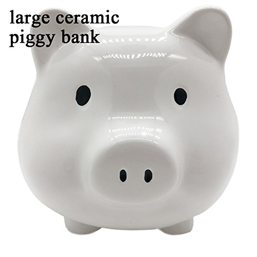 ERGGU Piggy Bank-Large Ceramic White Piggy Bank for Children Shower Gift - Large Piggy Banks Kids