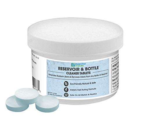 - Essential Values 24 Tablets Water Reservoir & Bottle Cleaning Tabs, Quickly Removes Stubborn Stains & Odors - Great for Hydration Backpack Bladders & Water Bottles