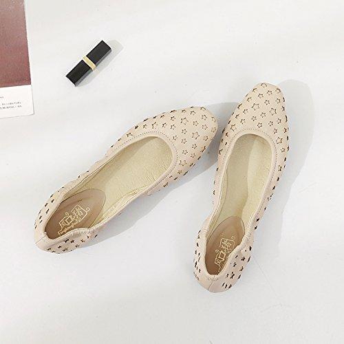 el una Calzado Zapatos Zapatos Beige Las de Cuatro Hembra Casual Mujeres Xue de Cuadrado Zapatos Plano Piso iluminan Rollos Zapatos Huevo de Qiqi con Mujer Calzado Sola xgqPw6
