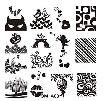 Amazon com: Nail Art - mp0013 OM-A1-32 Art Plate Stamp Stamping Set