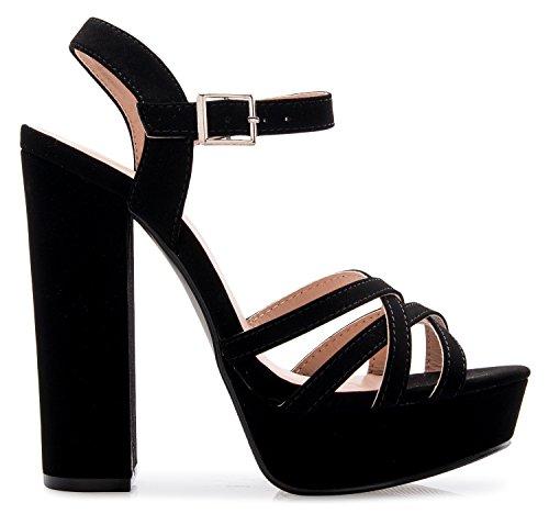 Image of OLIVIA K Women's Platform Ankle Strap High Heel - Peep Toe Sandal Pump - Formal Chunky Dress Heel