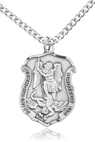 Heartland Store Men's Saint Michael Sterling Silver Police Shield + 24 Inch Endless Rhodium Plated Chain