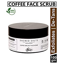 Sacred Salts Coffee Walnut Face Scrub| Gentle Exfoliator & De-Tans | Men & Women, Brown, 100 g