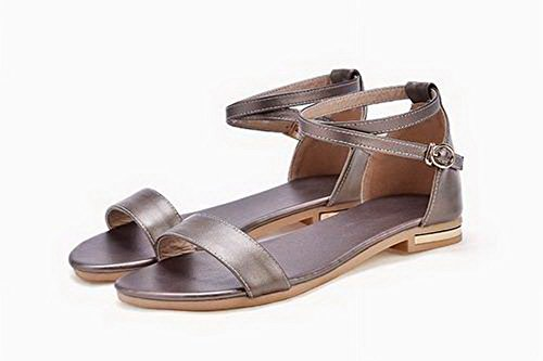 Pu Sandals VogueZone009 Solid Toe Open Gold Women Low Heels A6wEOwq