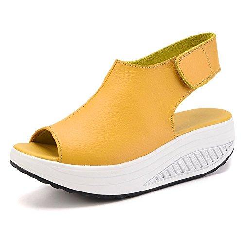 Minetom Sandalias Mujer Zapatillas De Plataforma Tobillo PU Cuero Cuña  Confort Peep Toe Tacón Alto Velcro 38589c44c572
