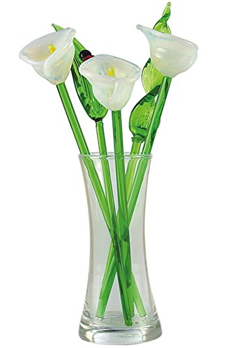 Glass Flowers - Crystal Glass Spring Flower Bouquet with Vase, Gift Boxed - White Calla Lilies