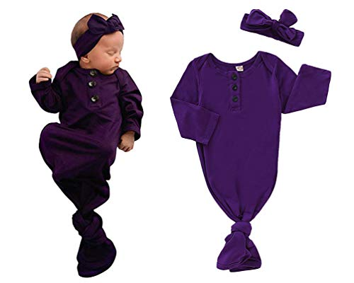 - COLOOM Infant Baby Tie Nightgown and Matching Hat Cotton Sleep Gown with a Tie Bottom for Boy Girl Unisex (Purple, 0-6Months)