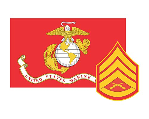 Marine Decal Flag Corps (Marine Corps Flag USMC w/SSgt Rank Staff Sergeant Vinyl Decal Sticker Cars Trucks Laptops etc.3.22x5 (Red) (Full Color) (Full Color))