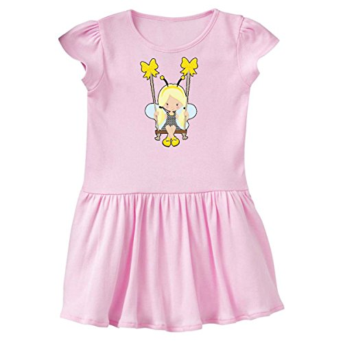 inktastic Blonde Bee Girl On A Swing Toddler Dress 3T Ballerina Pink (Ballerina Swing)