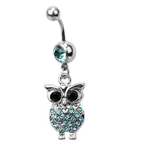 ReFaxi®Stylish Surgical Steel Blue Rhinestones Owl Design Navel Ring Piercing Jewelry