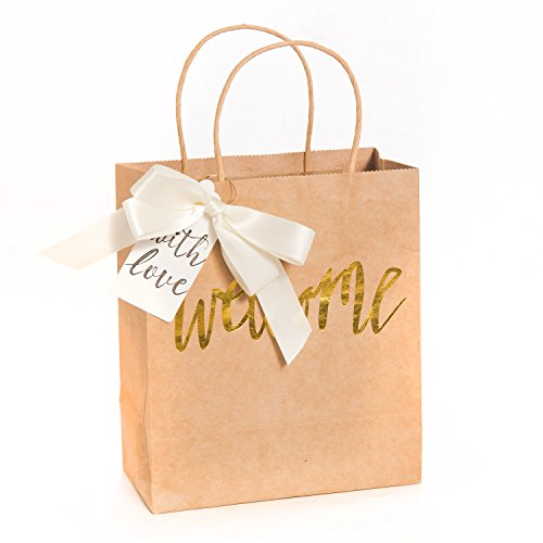 Ling's moment Set of 12 Wedding Welcome Gift Bags with Ivory Bows and Tags for Hotel Guests, Destination Wedding Favors, Weekend Wedding Guests, Sweet 16 Party Favors