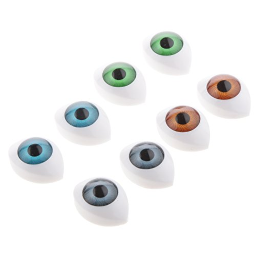 Jili Online 4 Pairs Oval Plastic Doll Eyes Eyeballs for Dolls/Bears/Mask Making DIY 14mm from Jili Online