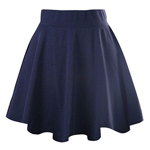 JNTworld Womens Basic A Line Stretch high Waist Flared Plain Pleated Skater mini skirt, XL , blue