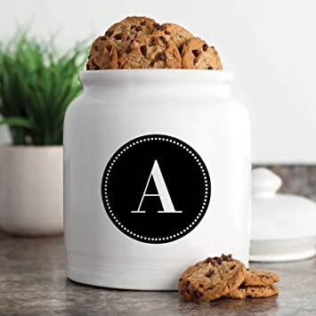 Chip Resistant Personalized Cookie Jar Black Circle Initial Design