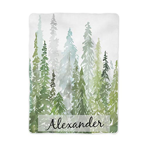 - Personalized Minky Baby Blanket in Forest Green Pine Tree Design Green Ombre Hunter Green Forest (50x60)