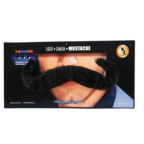 HMS Mens Jumbo Black Moustache Halloween Costume Accessory ()