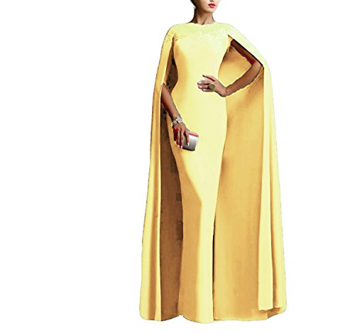 Ellenhouse Women's Long Mermaid Formal Gown Prom Evening Dresses with Cape EL349 Yellow