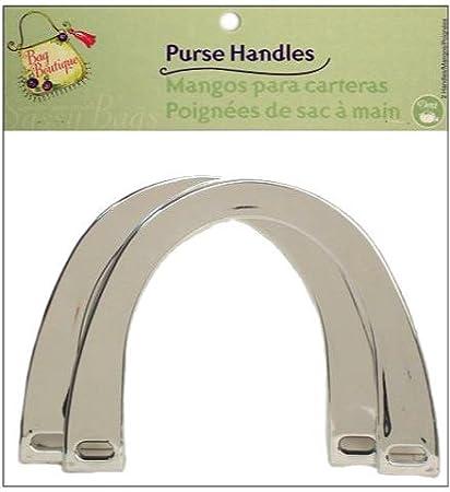 """Dritz Bag Boutique Purse Handle - Plastic U-Shape Silver Metallic 6"""""""