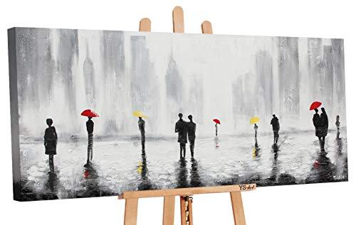 YS-Art | Cuadro Pintado a Mano Rendevouz 2 | Cuadro Moderno acrilico | 115x50 cm | Lienzo Pintado a Mano | Cuadros Dormitories | unico | Gris