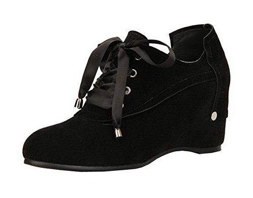 AmoonyFashion Womens Solid Frosted Kitten-Heels Closed Toe Lace-Up Pumps-Shoes Black kmZuys