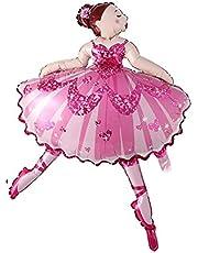 The Party Popper Dancing Big Ballerina Ballet Dancer Girls Helium Foil Balloon, Pink