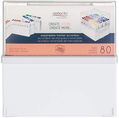 Deflecto Expandable Marker Accordion, Stores up to 80 Markers, White Base, Clear Lid, 8-5/8