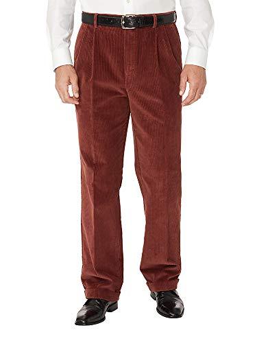 Paul Fredrick Men's Cotton Corduroy Pleated Pants Garnet 36