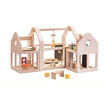 PlanToys Slide N Go Wooden Dollhouse (7611): Toys & Games